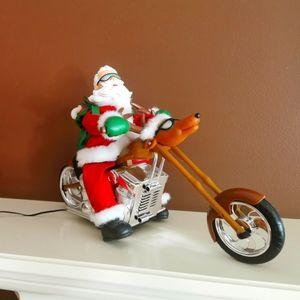 Rare Christmas Santa on a motorcycle sings and dances